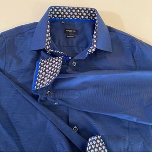 Rosso milano italy dress shirt size 15.5 mens blue